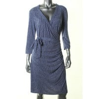Laundry by Shelli Segal Womens Printed 3/4 Sleeves Wrap Dress