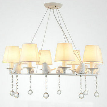 Modern American Large White Round Bird Crystal Chandelier Light White Lampshade For Living Room Dining Room