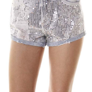 Silver Sequin Ultra Glam Denim Shorts