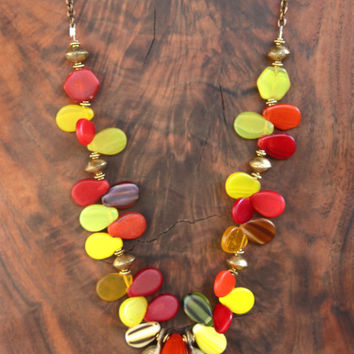African Wedding Bead Necklace Honey Bee Stripes Red Orange and Yellow Glass Teardrops with Vintage African Bells Colorful Tribal Jewelry