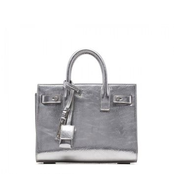 NWT Saint Laurent YSL Sac De Jour Mini Metallic Silver Leather Tote Shoulder Bag