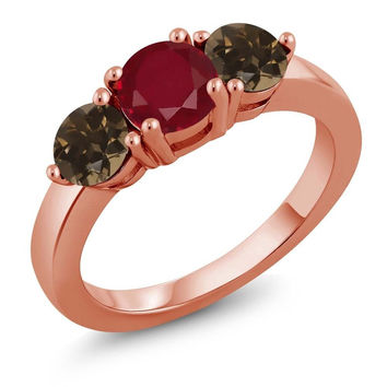 1.97 Ct Round Red Ruby Brown Smoky Quartz 18K Rose Gold Plated Silver Ring