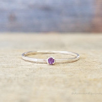 Amethyst Birthstone Ring February Stackable Ring