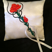 red rose with black ribbon wedding ring pillow swarovski crystal hand painted