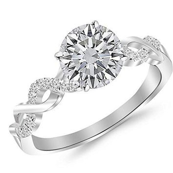 CERTIFIED | 14K White Gold 0.87 CTW Round Cut Twisting Infinity Gold and Diamond Split Shank Pave Set Diamond Engagement Ring, H-I Color I1 Clarity Center Stone CERTIFIED |