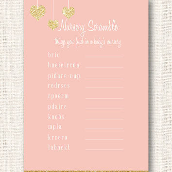 Baby shower word scramble gold and pink girl baby shower game with gold hearts digital file instant download diy