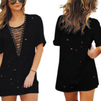 New summer sexy Women hollow out short sleeve dress-0523