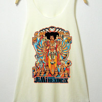 Jimi hendrix, women tank top, off white shirt, , sleeveless shirt, clothing tshirt, lady shirt, vintage style tee, S/M , L/XL  size
