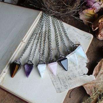 Pyramid Healing Stone Necklaces (Select Your Stone)