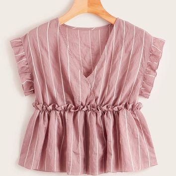 Vertical Striped Frill Trim Babydoll Blouse