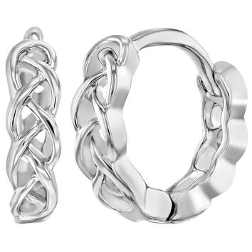 Rhodium Plated Braided Huggie Hoop Earrings for Girls Teens 0.39""