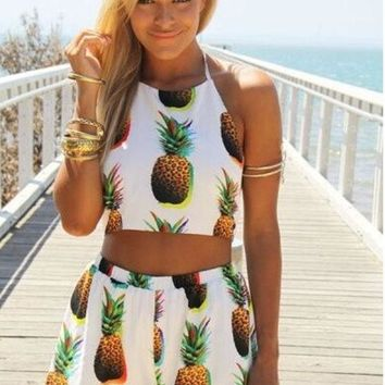 DCCKN6V new style summer clothing two-piece dress pineapple backless Dew belly short dress