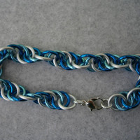 Ice themed spiral bracelet anodized aluminum jump rings with silver plated lobster clasp