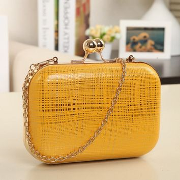 Casual Gold Plaid Evening Hand Bag