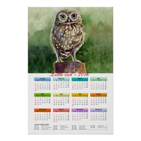 Little owl watercolor calendar 2016 poster