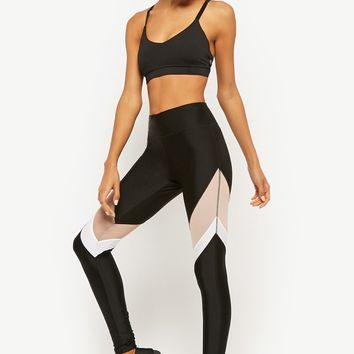 Active Colorblock Mesh Panel Leggings