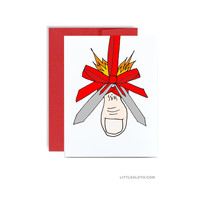 Mistletoe card - missile toe pun punny holiday christmas greeting card red xmas cards