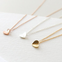 Tiny Heart Necklace, Tiny Necklace, Small Necklace, Love Necklace, Simple Necklace, Delicate Necklace, Cute Necklace, Pure Necklace
