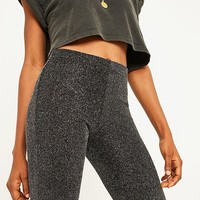 UO High-Rise Glitter Flare Trousers | Urban Outfitters