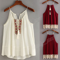 Women Embroidered Cami Tassel Drawstring Top Blouse Tank Tops shirt Halter Vest