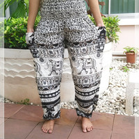 Blue Elephant Pants Baggy Boho Style Printed Hippie Massage Gypsy Thai Tribal Plus Size Rayon Aladdin Clothing Beach Baggy Casual Gift Rayon