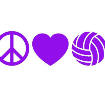 PEACE LOVE VOLLEYBALL Vinyl Decal Great for by OwlOutfitters