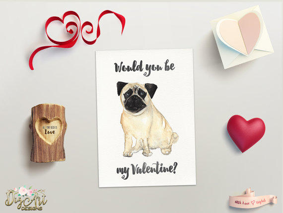 pug valentine card printable from digartdesigns on etsy - Dog Valentines Day Cards