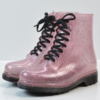 Fashion Autumn Winter Women Rain Boots Transparent Glitter Pullover Boots Martin Boots Water Shoes Students Rain shoes