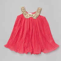 Hot Pink & Gold Sequin Collar Swing Dress - Toddler & Girls | Daily deals for moms, babies and kids