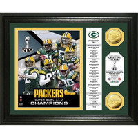 Super Bowl XLV Champions 24KT Gold Coin Banner Photo Mint