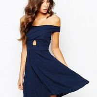 Love Off Shoulder Wrap Front Skater Dress With Box Pleat Skirt