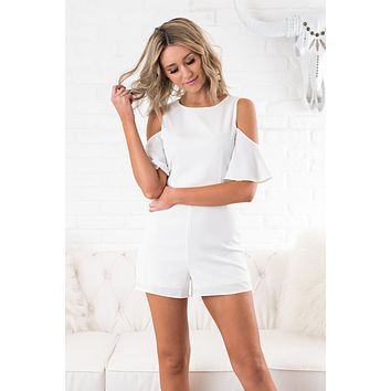 Be Mine Cold Shoulder Romper (Off-White)