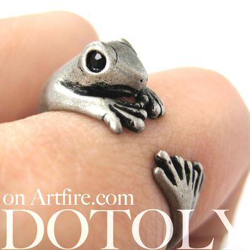 Lizard Gecko Animal Wrap Around Ring in Silver - Size 4 to 9 Available