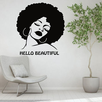Hello Beautiful Sign, Salon Decal, Afro Girl Decal, Beauty Salon Decal, Inspirational Quote, Motivational Quote Decal, Room Decoration nm042