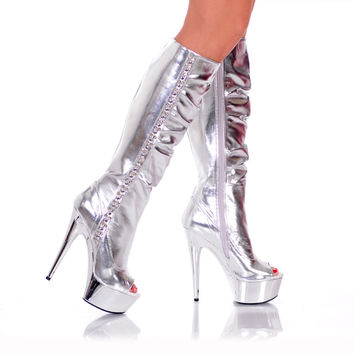 "6"" Knee High Platform Boot With Side Rocker Metal"