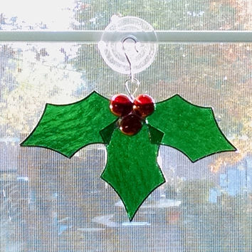 Stained Glass Holly Suncatcher - Christmas ornament - Holiday Decor - Christmas Decoration - Holly and Berries - Christmas Gift