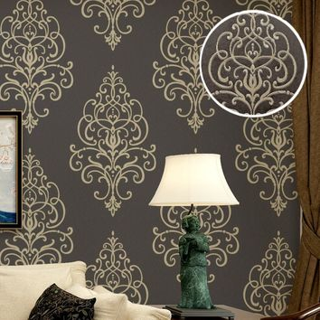 New 3D Embossed Texture Large Damask Wallpaper Roll Gold Brown Vintage Luxury Stencil French Wall Paper Background Wall Covering