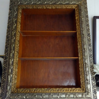 """Vintage Ornate Gold Painted Frame  Double Gilded Wooden Shadow Box Display Shelf  37"""" x 29"""" x 4"""""""
