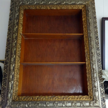 "Vintage Ornate Gold Painted Frame  Double Gilded Wooden Shadow Box Display Shelf  37"" x 29"" x 4"""