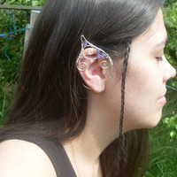Elf Ear Cuffs, Amethyst Ear Cuffs, Nymph Ears, Ear Cuff, Mermaid Ear Cuffs, LARP Elf Ears, Cosplay Ears, Pixie Ears, Elven Boho, Fantasy