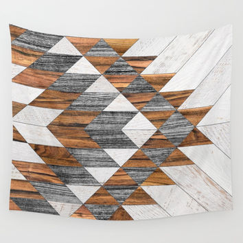 Urban Tribal Pattern 12 - Aztec - Wood Wall Tapestry by zoltanratko