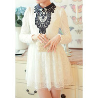 Vintage Beaded Long Sleeve Lace Dress