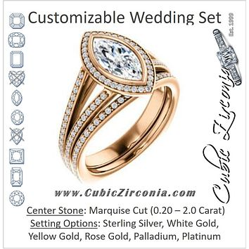 CZ Wedding Set, featuring The Maritza engagement ring (Customizable Bezel-Halo Marquise Cut Style with Pavé Split Band & Euro Shank)