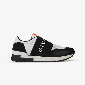 RUNNER ELASTIC SNEAKERS IN LEATHER AND NYLON