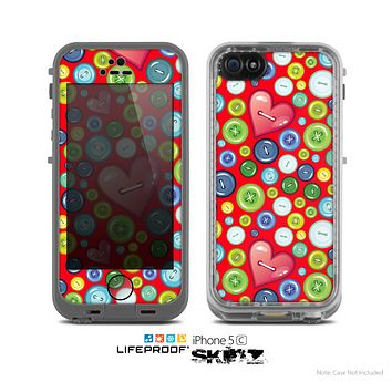 The Red Vintage Vector Heart Buttons Skin for the Apple iPhone 5c LifeProof Case
