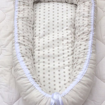Stars babynest with wool stuffing - sleeping nest for newborn babies - baby bed - co-sleeping - ready to ship!