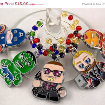 Avengers inspired wine glass charm set of 5 comics charm marvel comics handmade wine charms party chibi JPOP wine charms