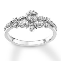 Diamond Engagement Ring 3/8 ct tw Round-cut 10K White Gold