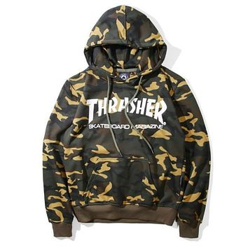 THRASHER flame men and women long sleeve sets loose fleece hoodies Camouflage-1