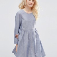 ASOS Long Sleeve Chambray Smock Dress